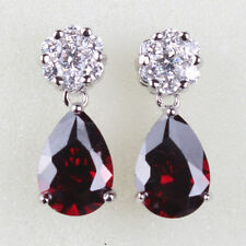 HUCHE Garnet Red & Clear Sapphire Silver Tone Drop Women Dangle Earrings Studs