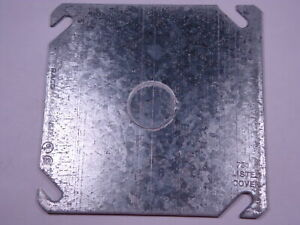"""Lot of 2 753 Raco Hubbell 4"""" Square Cover Flat with 1/2"""" KO Univ. No. 52-C-6 NOS"""