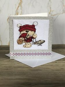 Completed Cross Stitch Bear With Sleigh  Christmas Card 4x4 Inch.