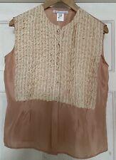 Genuine Designer PAUL & JOE SISTER Silk/lace Sleeveless Blouse. Size UK14