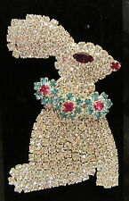 CRYSTAL RHINESTONE EASTER BUNNY BROOCH PIN ALL STONES PRONG SET  BEAUTIFUL!!