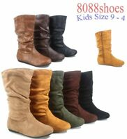 Girl's Kid's Cute Causal Zipper Mid Calf Slouchy Flat Boot Shoes All Size 9 - 4