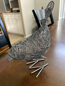 """Adorable Metal Wire Bird Sculpture 10"""" X 8"""" Looks Great Anywhere"""