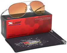 HD + Vision Ambra Lenti Blue Blocker guida notturna occhiali da sole Uomo Aviatore Retrò