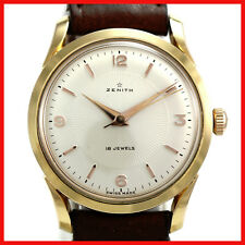 VINTAGE MINT ZENITH TEXTURE DIAL GOLD FILLED TOP SS CASE BACK MENS WATCH