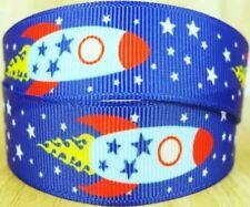 "7/8"" 2 YARDS Space Ship Rocket Grosgrain Ribbon Scrapbooks DIY Crafts Bows Cards"