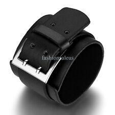 "Fashion 50mm Black Fauxy Leather Wrist Belt Men's Bangle Bracelets 10"" Inch"