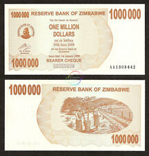 ZIMBABWE 1000000 1 Million Dollars Bearer Cheque 2008 P-53 UNC Uncirculated