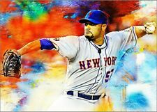 2020 Johan Santana New York Mets 4/25 Art ACEO Art Print Card By:Q