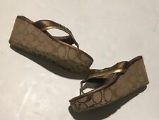 6c4dff4ce5c Coach Wedge Brown Flip Flop Sandals Harley Poppy Signature Size 8
