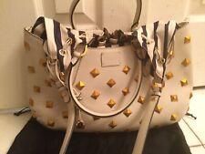 Authentic Fendi Bag Ivory Leather Gold Studded B. Fab Bag