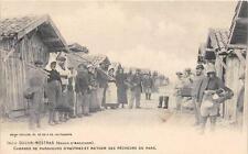 CPA 33 GUJAN MESTRAS CABANES DE PARQUEURS D'HUITRES ET RETOUR DES PECHEURS DU PA