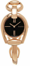 Gucci Horsebit SM RG PVD Black Sun Brushed Dial Women Watch YA139507