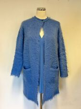 LAUREL BLUE MOHAIR BLEND LONG CARDIGAN/ JACKET & LONG SLEEVE SILK BLOUSE SIZE 8