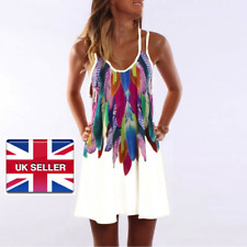 Women Ladies Feather Print Chiffon Summer Casual Dress White Boho UK Size 12-20