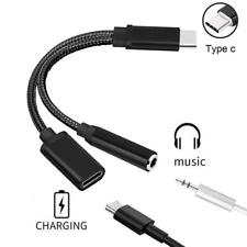 Black 2in1 USB C Type C to 3.5mm Audio Charger Adapter Cable Headphones Earphone