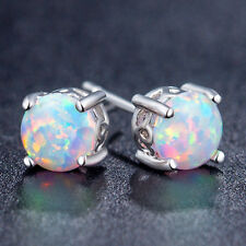 Wedding Jewelry Classical Round Platinum Plated White Fire Opal Stud Earrings