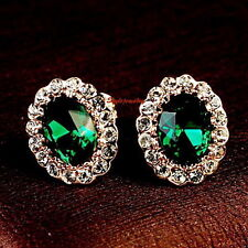 Women Emerald Green Made with Swarovski Crystal Birthstone Stud Earring XE118