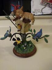 Bradford Exchange Backyard Buddies Wake-Up Call Birds and Cat Figurine 2008