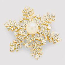 NEW Christmas Hoilday Snowflake Brooch Pin Swarovski Sparkling Crystals & Pearl