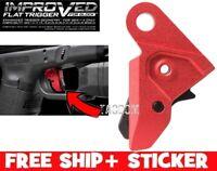 Strike Industries Flat Trigger RED Shoe For Glock Enhanced Aluminum Gen 1-4