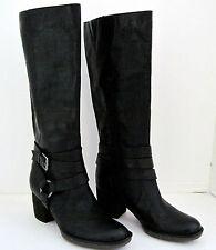 NAYA GAZELLE Black Leather  Boots Designer Hardware Womens Size 7 1/2 M, NEW!