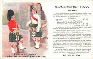 Early SOLDIER'S PAY Princess Louise's Argyll and Sutherland Highlanders Postcard