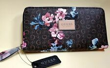 NWT GUESS ABREE LOGO FLORAL brown pink clutch zip-around check wallet