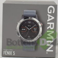 Garmin Fenix 5 Multisport GPS Smartwatch Sliver With Granite Blue Silicone Band