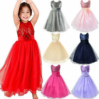 Flower Girl Kids Dress Sequins Princess Party Pageant Bridesmaid Tulle Ball Gown