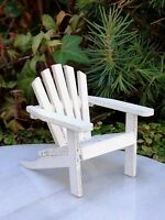 Miniature Dollhouse FAIRY GARDEN Furniture ~ Mini White Wood Adirondack Chair