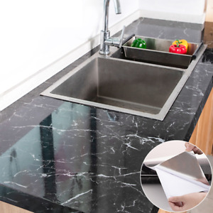 Papier peint adhésif marbre imperméable cuisine protection bureau meuble