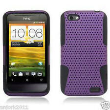 For HTC One V MESH Hybrid Silicone Rubber Skin Case Phone Cover Purple