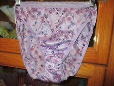 Vintage Panties Panty Hi Cut Thigh Leg Bikinis Nylon Lace Purple Print 6 10-17