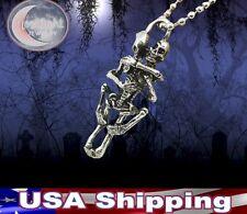 New Biker Skeleton Silver Plated Couple Skulls Hug Pendant Chain Necklace