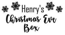 PERSONALISED CHRISTMAS EVE BOX - STICKER VINYL DECAL - BLACK FONT