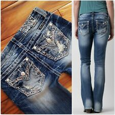 6c5611e8132 BUCKLE MISS ME EMBELLISHED BLING MID RISE DISTRESS BOOT CUT STRETCH JEANS  27x30