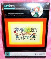 New Artiste Grandchildren Spoiled Here Stamped Cross Stitch Kit Kooler Design