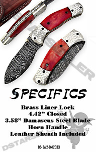 High Quality Eye-Catching Damascus Steel Collectible Bone/Horn Folding Knife
