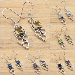 925 Silver Plated Natural CITRINE & Other Gemstone STYLISH Variation Earrings