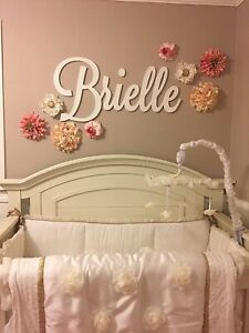 Personalized Wooden Name Sign Large size Letters Baby Name Plaque PAINTED nurser