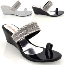 Womens Low Wedge Heel Sandals Ladies Sparkly Diamante Toe Ring Holiday Shoes 3-9