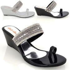 Sandalias De Mujer Con Taco Bajo Damas Brillante Diamante Anillo del Dedo del Pie Zapatos de vacaciones 3-9