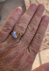 Antique Vintage Saphiret 12mm In 925 Sterling Silver Ring Size 7 1/2