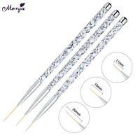 11/15/20mm Nail Art Marble Handle UV Gel Liner Brush Set Painting Acrylic Pen