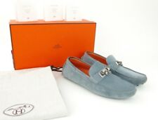 Authentic HERMES Blue Suede Irving loafer driving car shoes 40 8 medor buckle