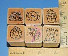 Lot of 6 Christmas DOTS Foam & Wood Rubber Stamp #1