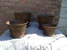 Indoor/Outdoor Metal 4 Piece Round Pot Planter Set Design w Patina look