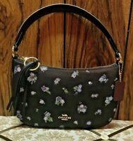 🌺 🌺BNWT COACH Floral Print Leather Sutton Crossbody Black/Gold 55373 🌺 🌺