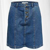 JDY Denim Jupe pour femmes Bouton Fermeture XS-XL Midi Jeans Skirt 34-42 Coton